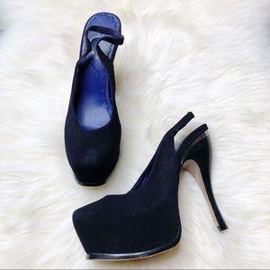 Alice + Olivia Keira Suede Slingback Platform Heel